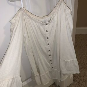 abercrombie white off the shoulder blouse